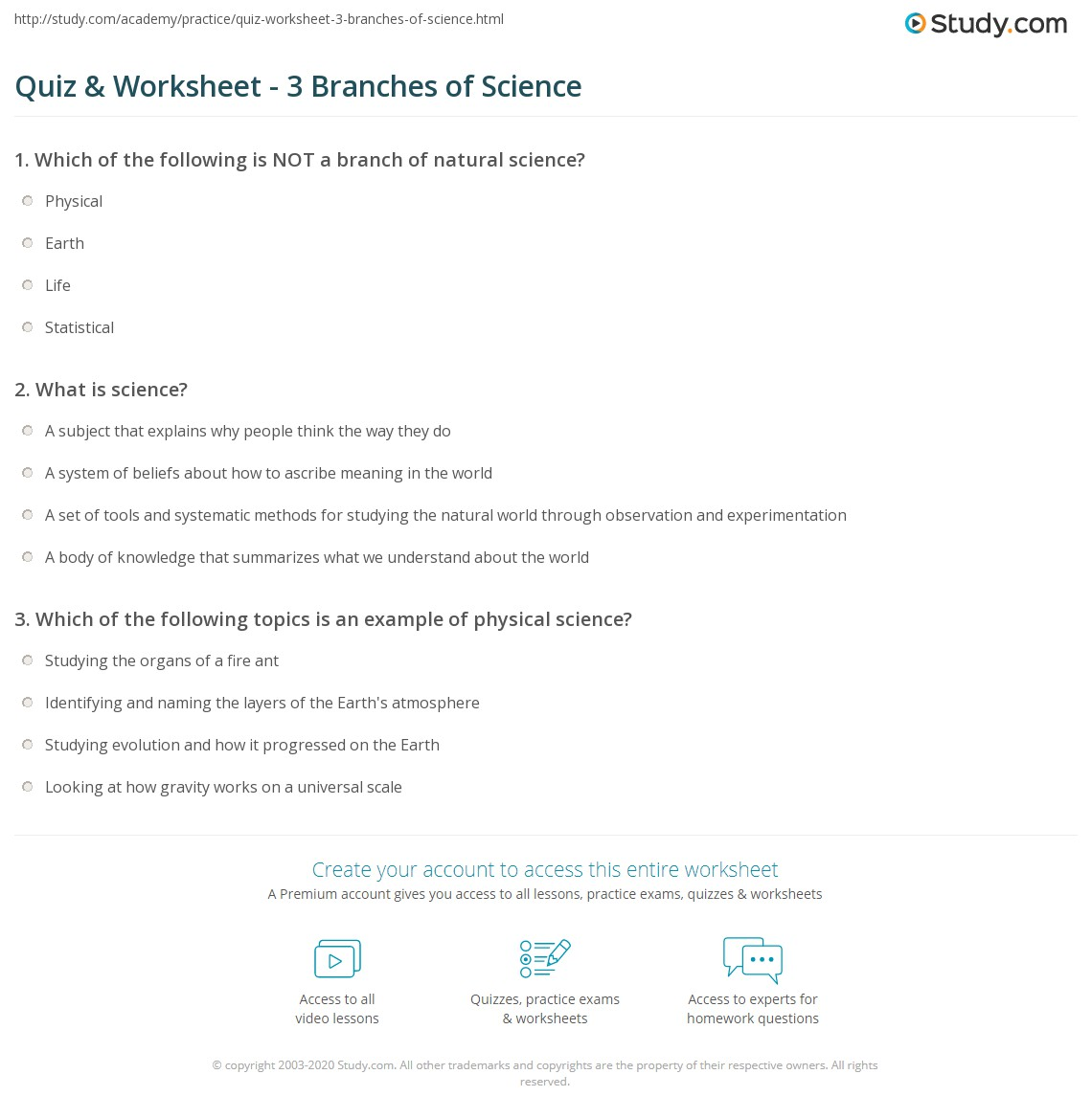 Quiz Worksheet 3 Branches of Science – What is Science Worksheet