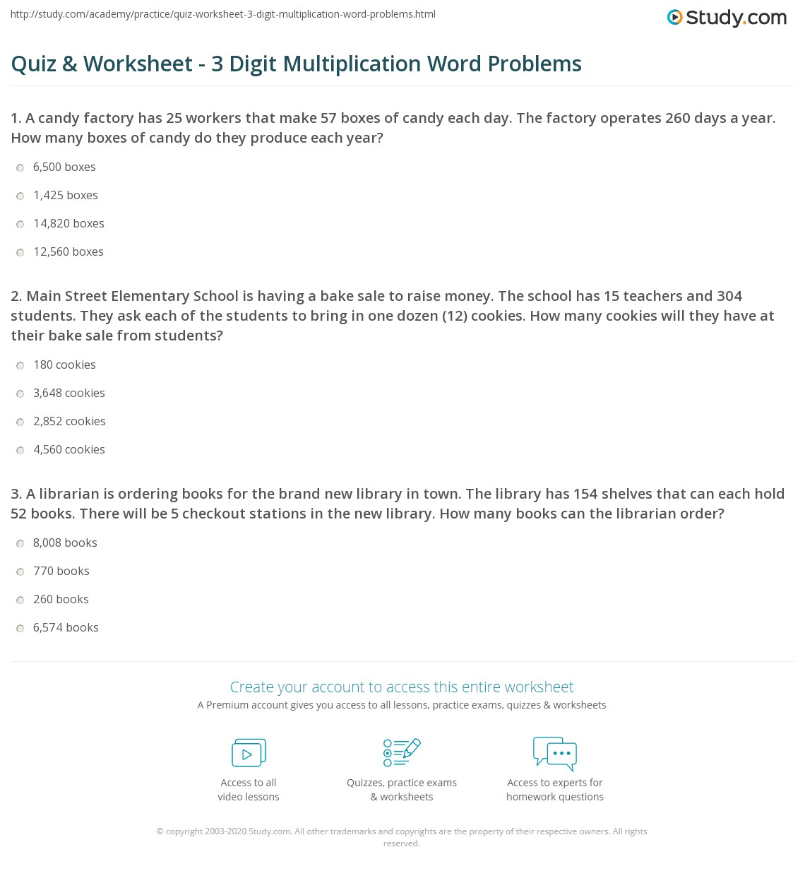 Quiz Worksheet 3 Digit Multiplication Word Problems