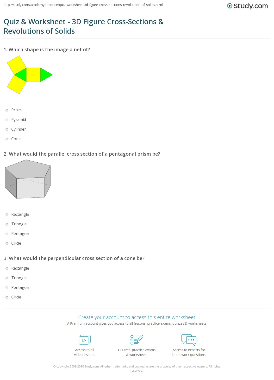 Quiz worksheet 3d figure cross sections revolutions of print cross sections of 3d figures revolutions of solids worksheet robcynllc Choice Image