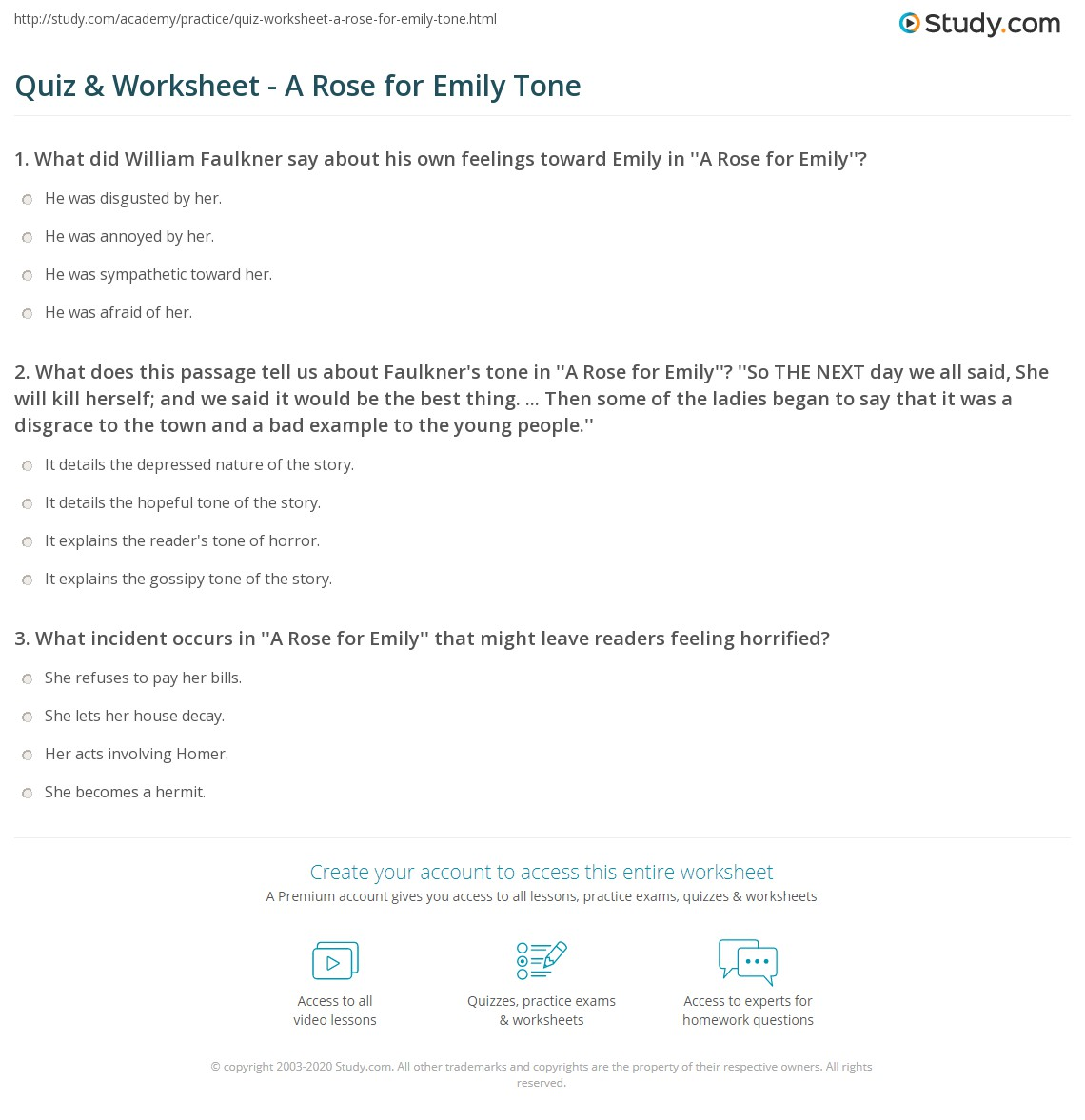 quiz worksheet a rose for emily tone. Black Bedroom Furniture Sets. Home Design Ideas