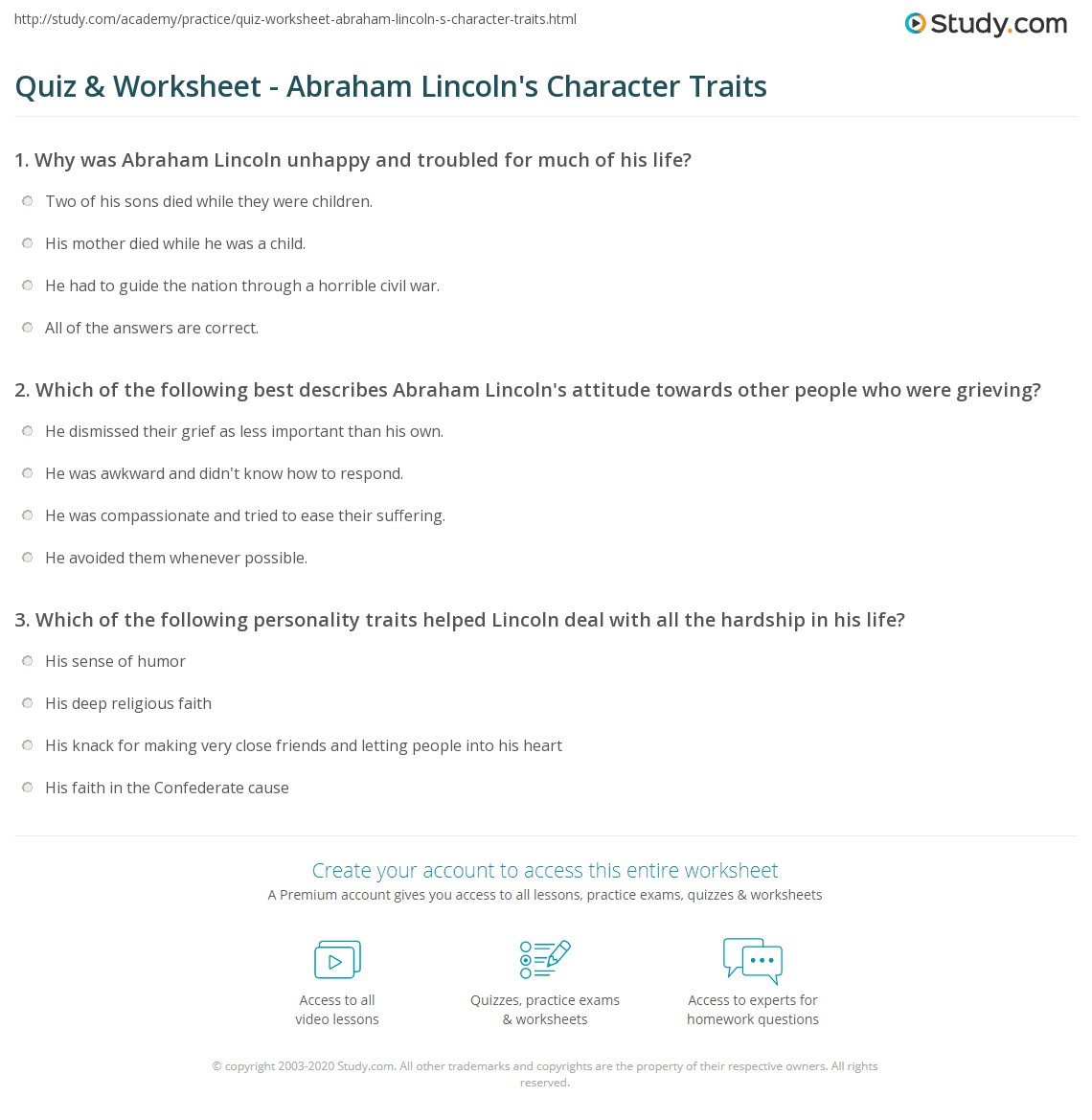 quiz worksheet abraham lincoln s character traits com print abraham lincoln s personality traits worksheet