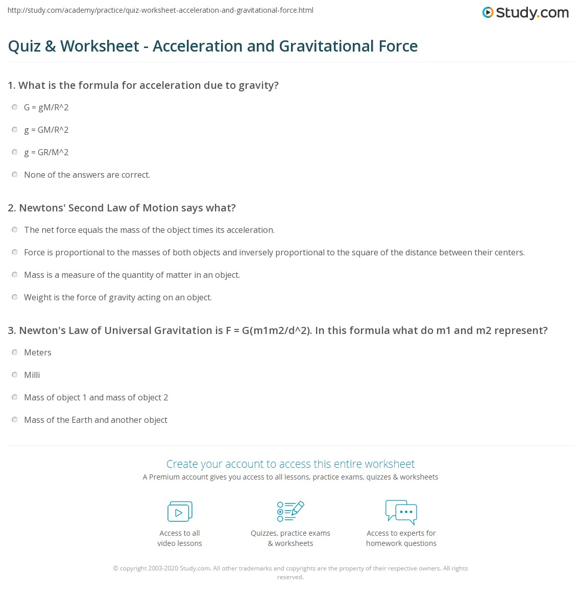 Quiz & Worksheet - Acceleration and Gravitational Force | Study.com