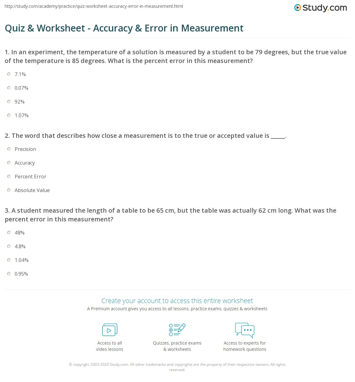 Quiz Worksheet Accuracy Error in Measurement – Measurement Practice Worksheet