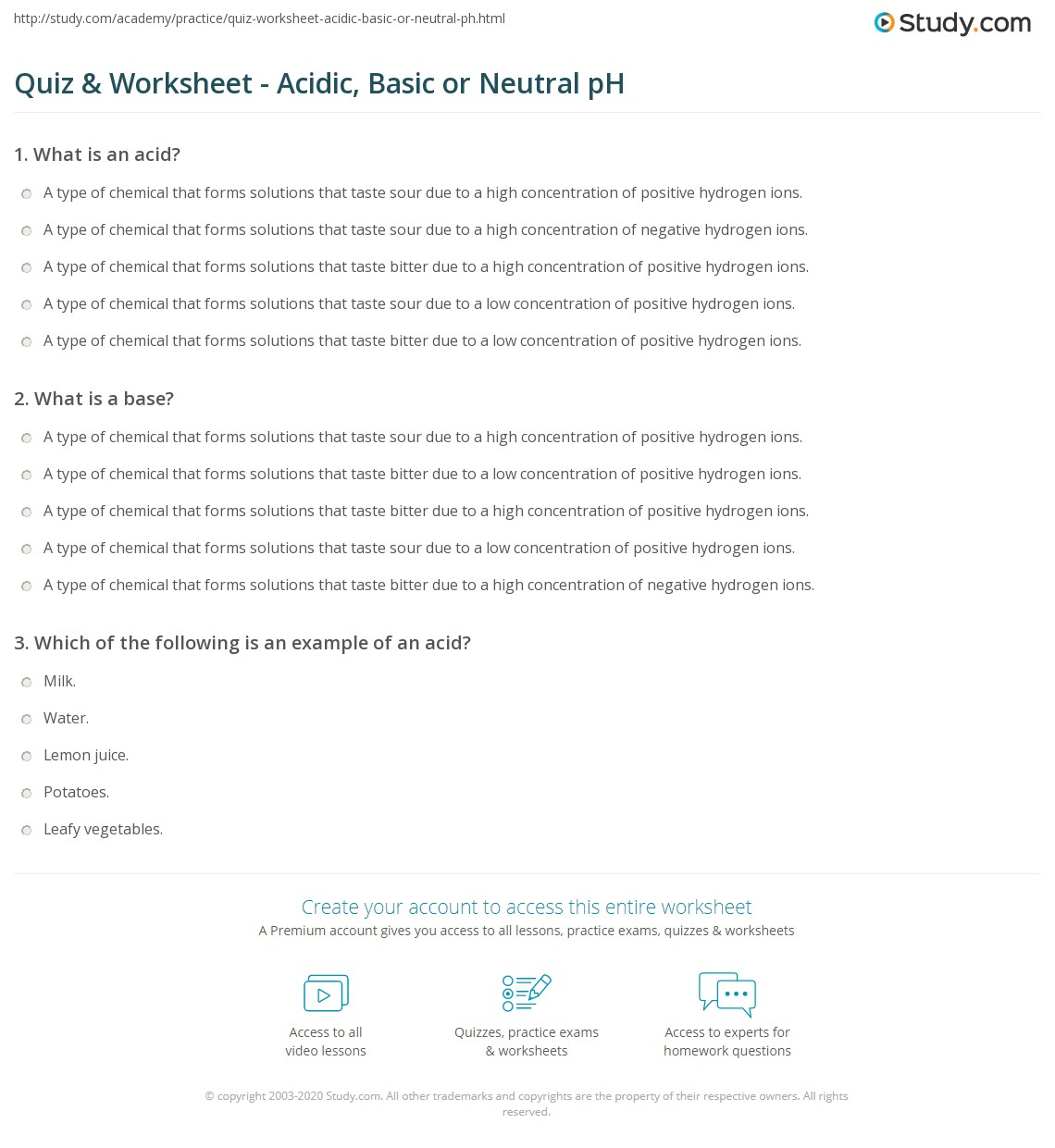 Quiz Worksheet Acidic Basic Or Neutral Ph Study Com