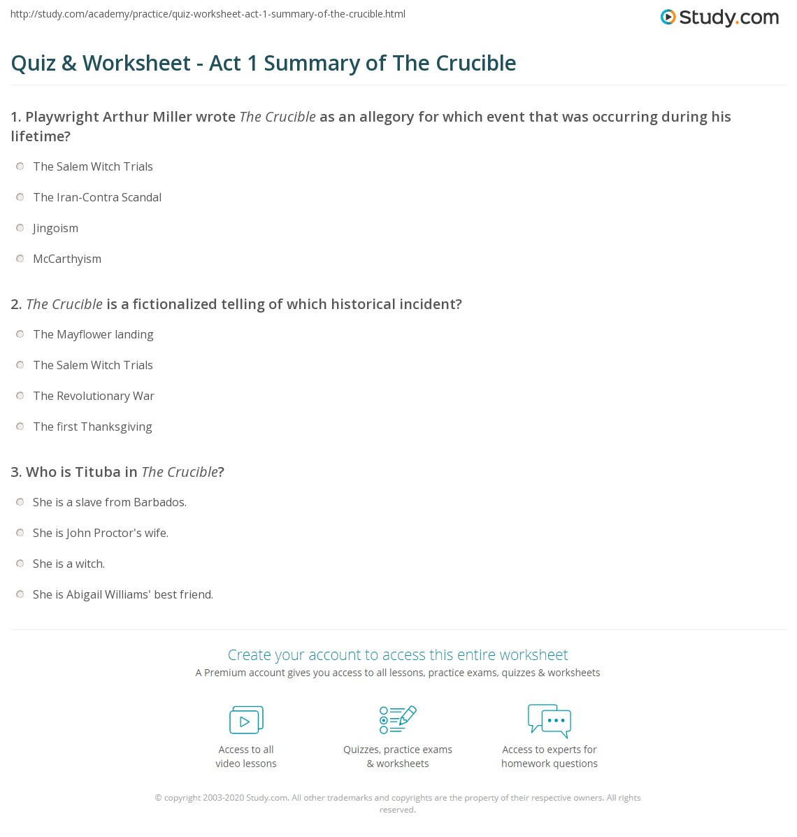 quiz worksheet act summary of the crucible com print the crucible act 1 summary worksheet