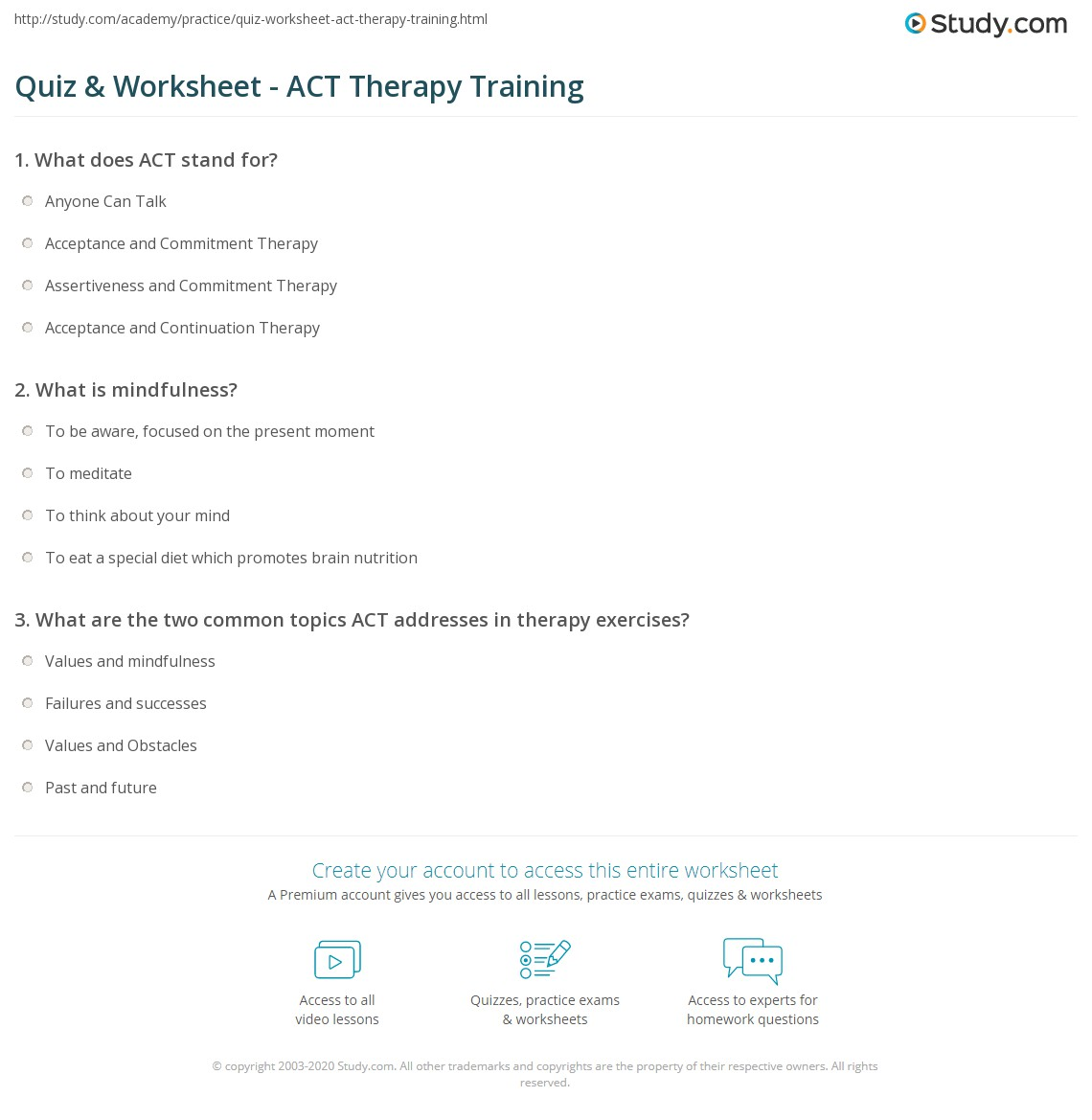 Quiz Worksheet ACT Therapy Training – Assertiveness Training Worksheets