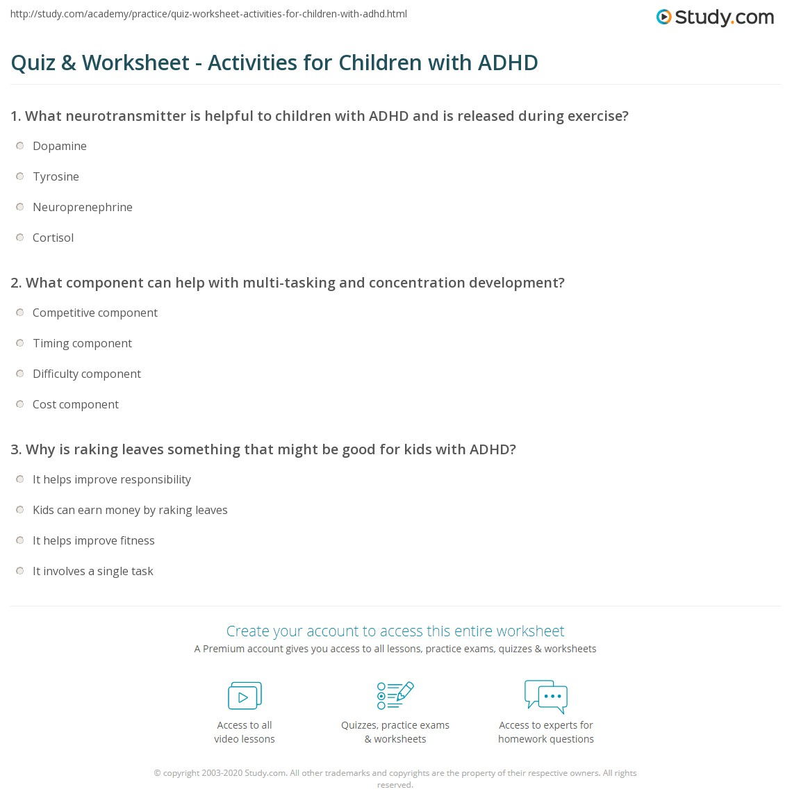 Quiz & Worksheet - Activities for Children with ADHD | Study.com