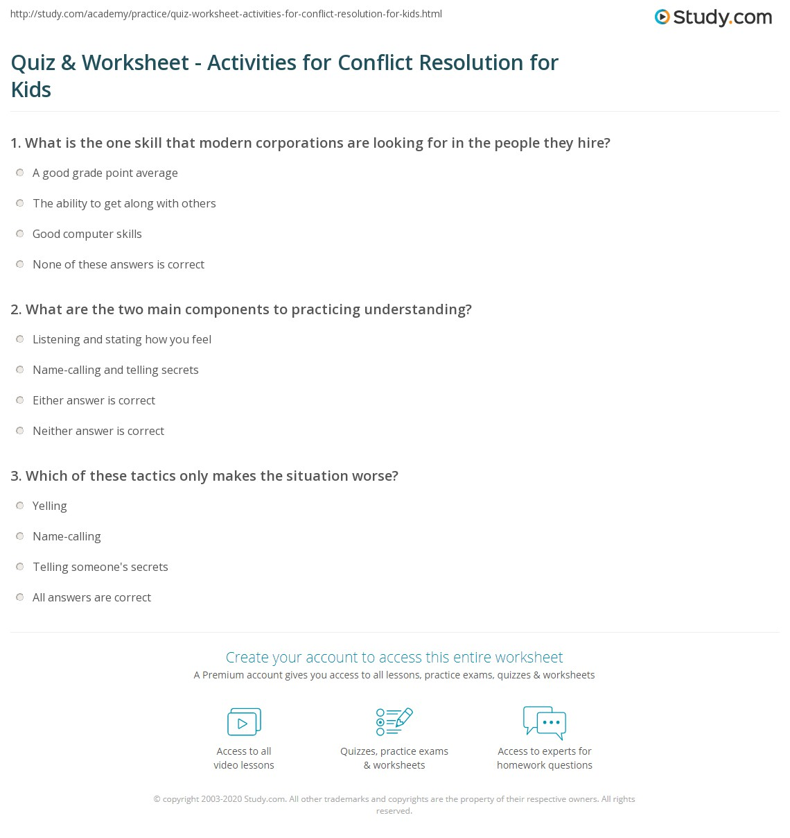 Quiz Worksheet Activities for Conflict Resolution for Kids – Conflict Resolution Worksheet
