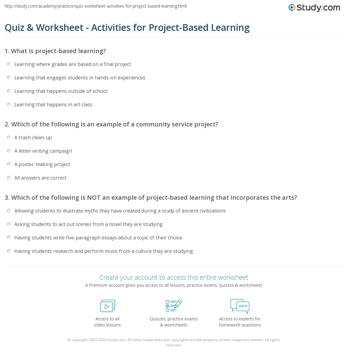 Quiz Worksheet Activities for ProjectBased Learning – Community Service Worksheet