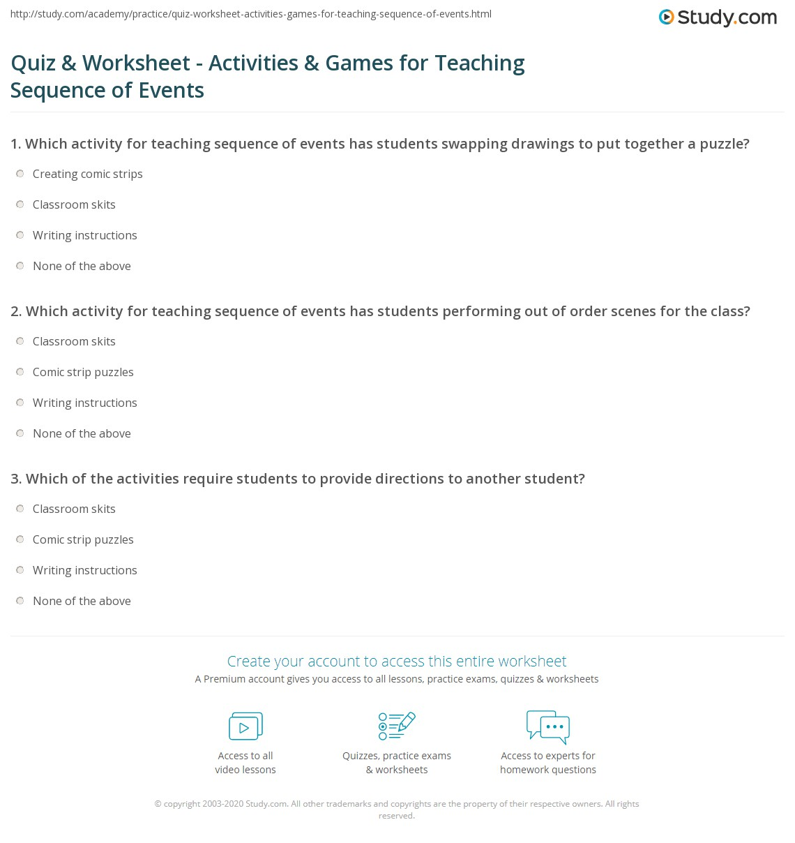 Quiz Worksheet Activities Games for Teaching Sequence of – Sequencing Events Worksheets for Kindergarten