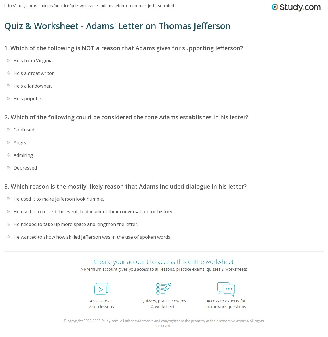 quiz worksheet adams letter on thomas jefferson com print john adams letter on thomas jefferson summary analysis worksheet