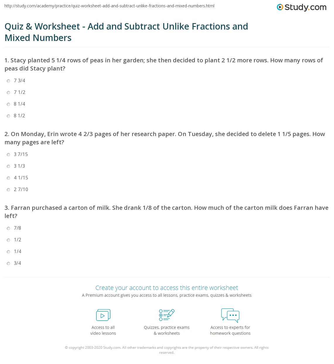 Quiz and Worksheet Add and Subtract Unlike Fractions and Mixed – Subtracting Mixed Numbers with Unlike Denominators Worksheet