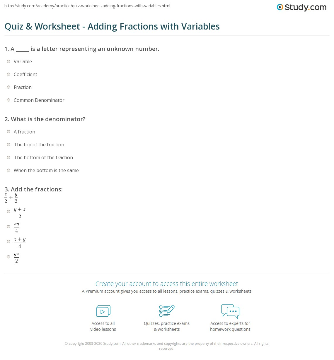 Quiz & Worksheet - Adding Fractions with Variables | Study.com