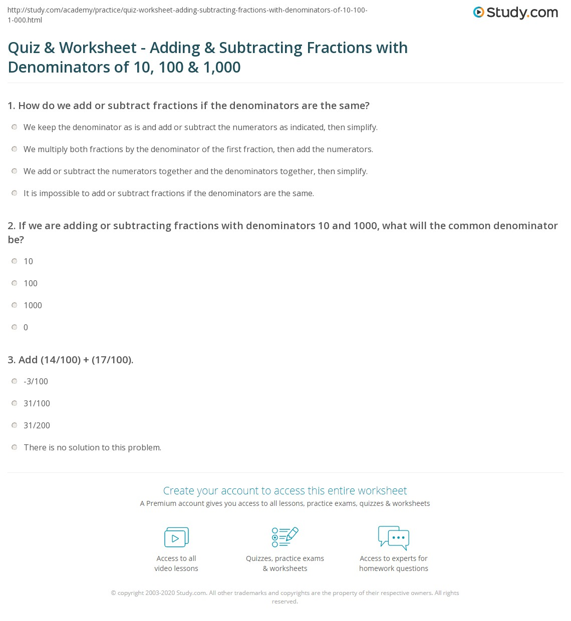 Quiz and Worksheet Adding and Subtracting Fractions with – Subtracting 10 Worksheet
