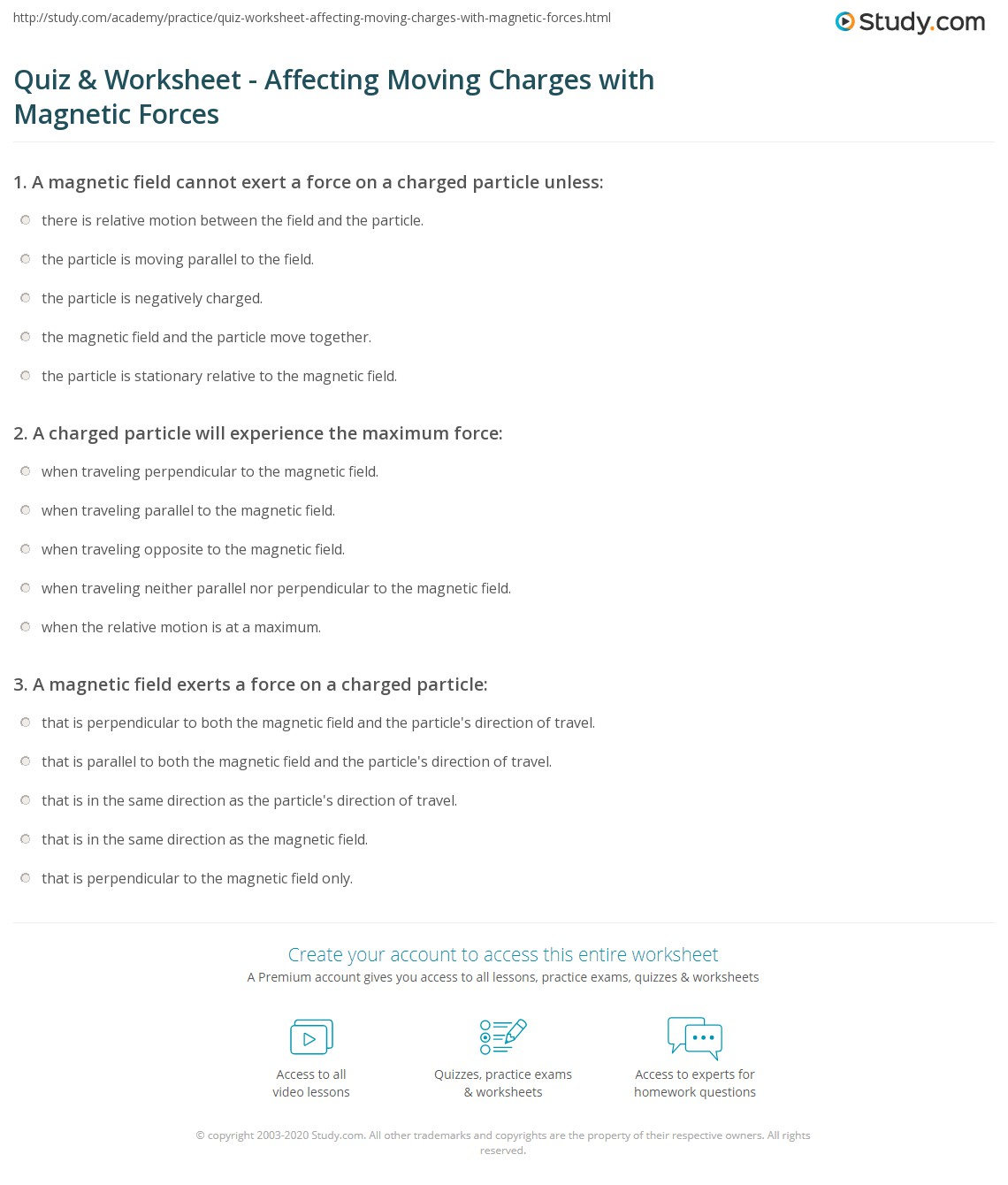 Quiz & Worksheet - Affecting Moving Charges with Magnetic Forces ...