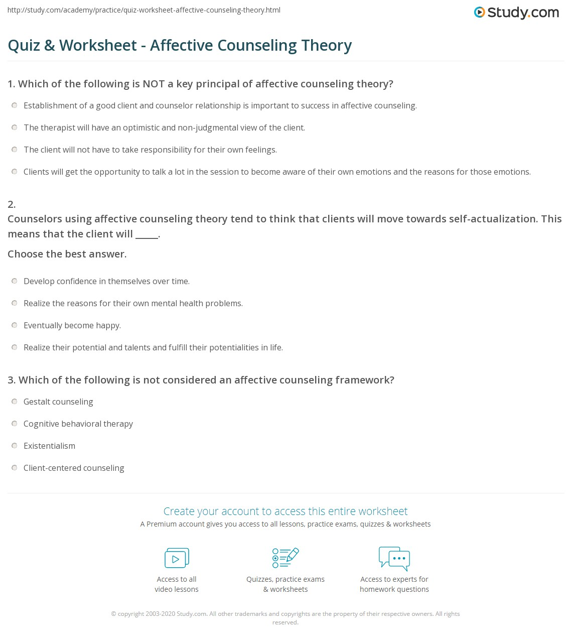 quiz worksheet affective counseling theory. Black Bedroom Furniture Sets. Home Design Ideas