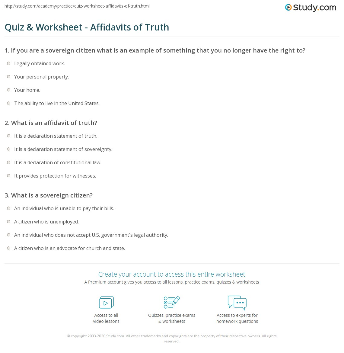 Quiz Worksheet Affidavits of Truth Studycom