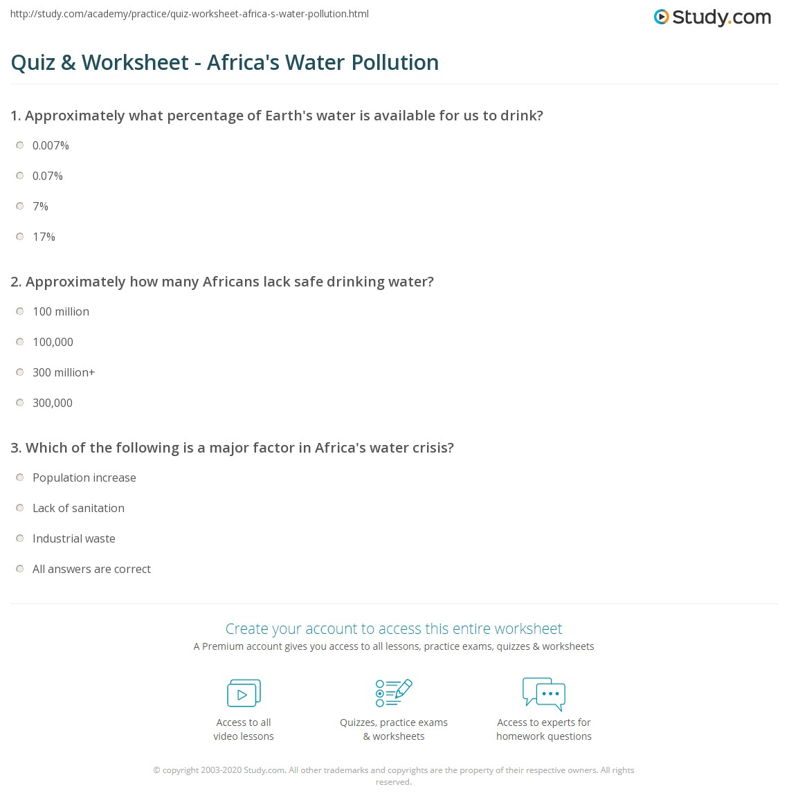 Quiz Worksheet Africas Water Pollution – Water Pollution Worksheet