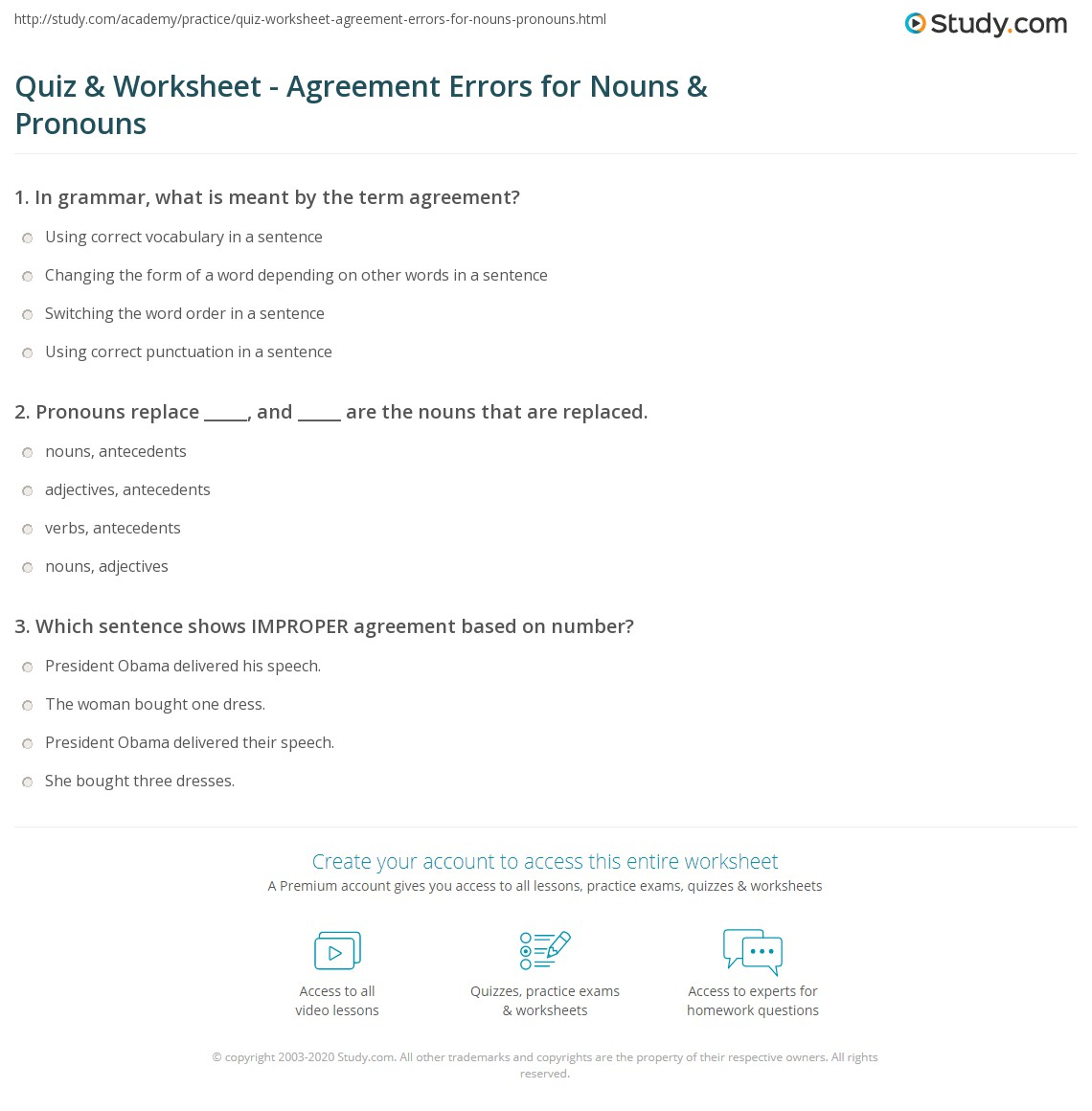 Quiz & Worksheet - Agreement Errors for Nouns & Pronouns  Study.com education, multiplication, alphabet worksheets, and grade worksheets Noun And Pronoun Worksheets For Middle School 1350 x 1140