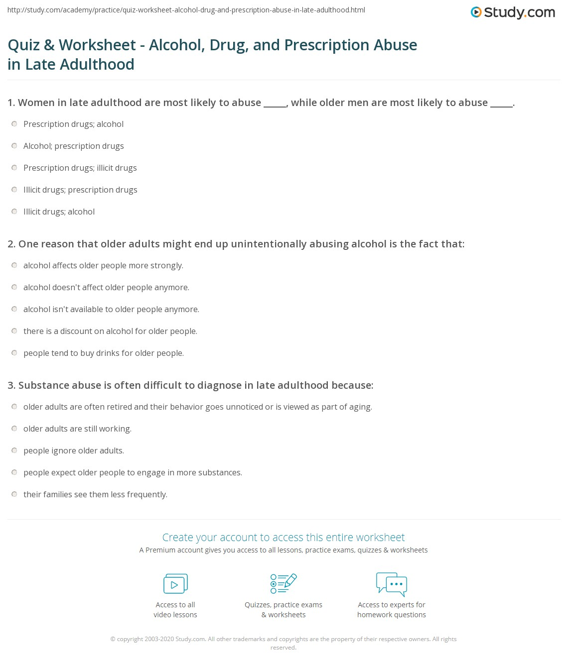 Printables Substance Abuse Worksheets For Adults quiz worksheet alcohol drug and prescription abuse in late print adulthood worksheet