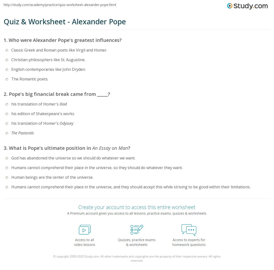 quiz worksheet alexander pope com print introduction to alexander pope biography essays and poems worksheet