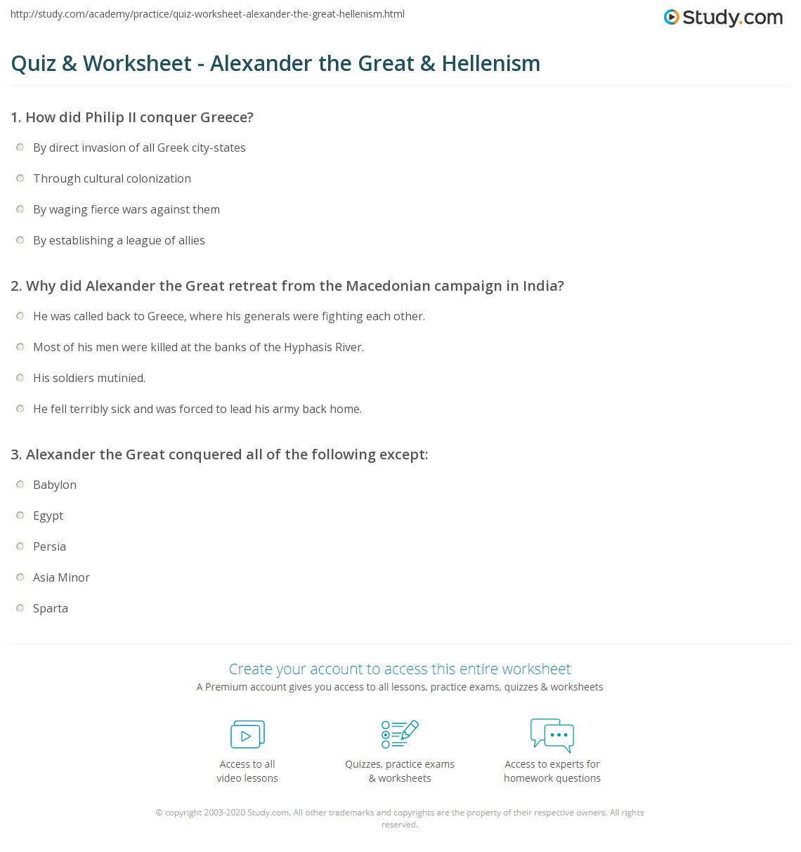 {Quiz Worksheet Alexander the Great Hellenism – Alexander the Great Worksheet