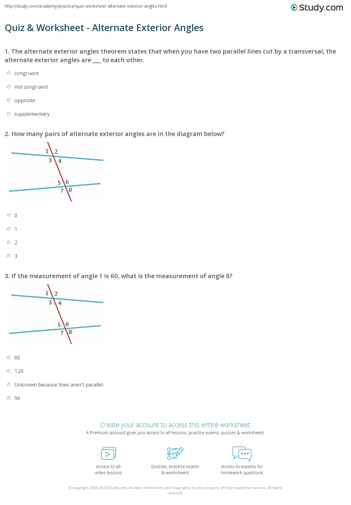 Worksheets alternate interior angles worksheet for Exterior of an angle definition
