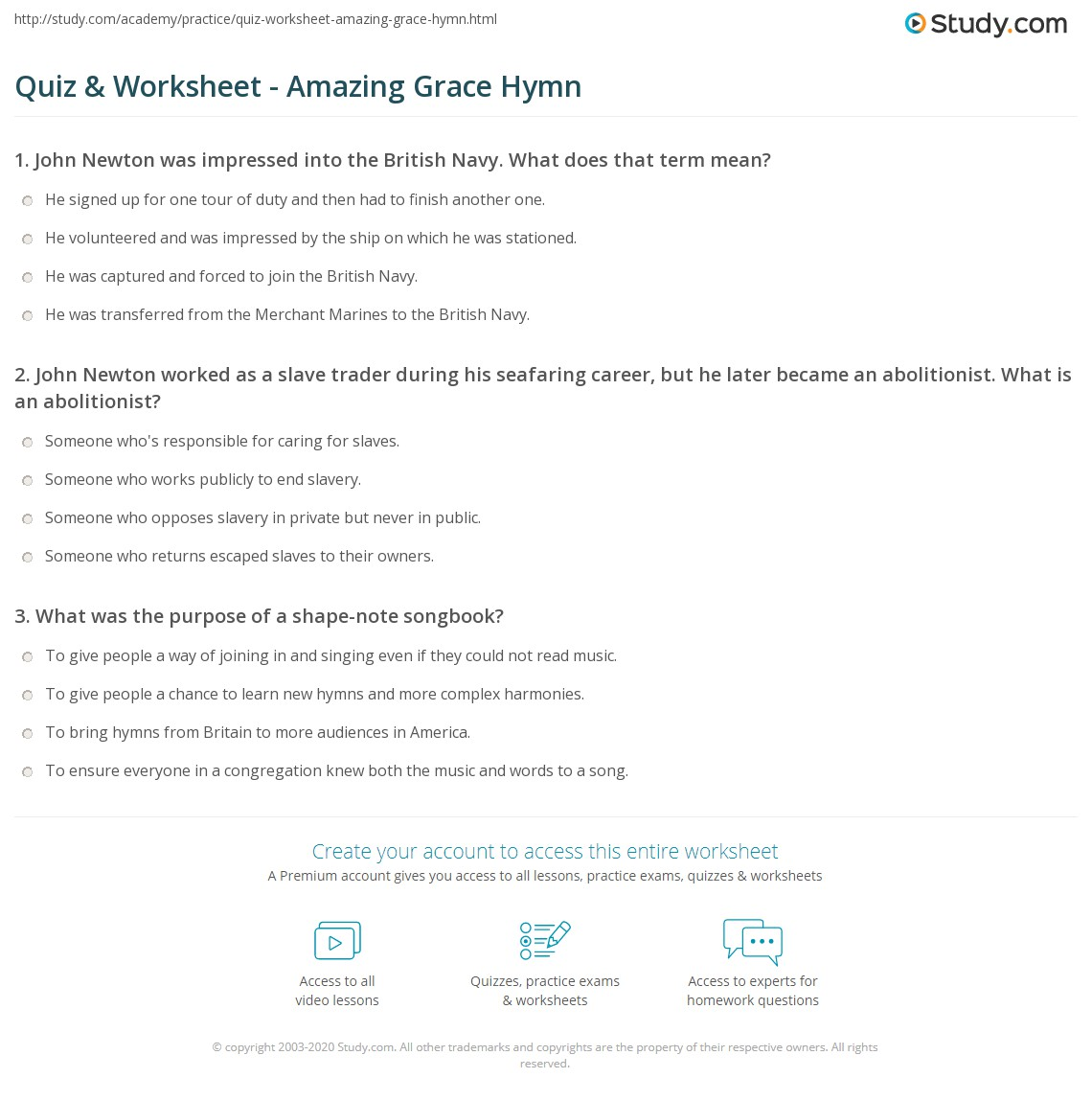 Quiz Worksheet Amazing Grace Hymn – Amazing Worksheets