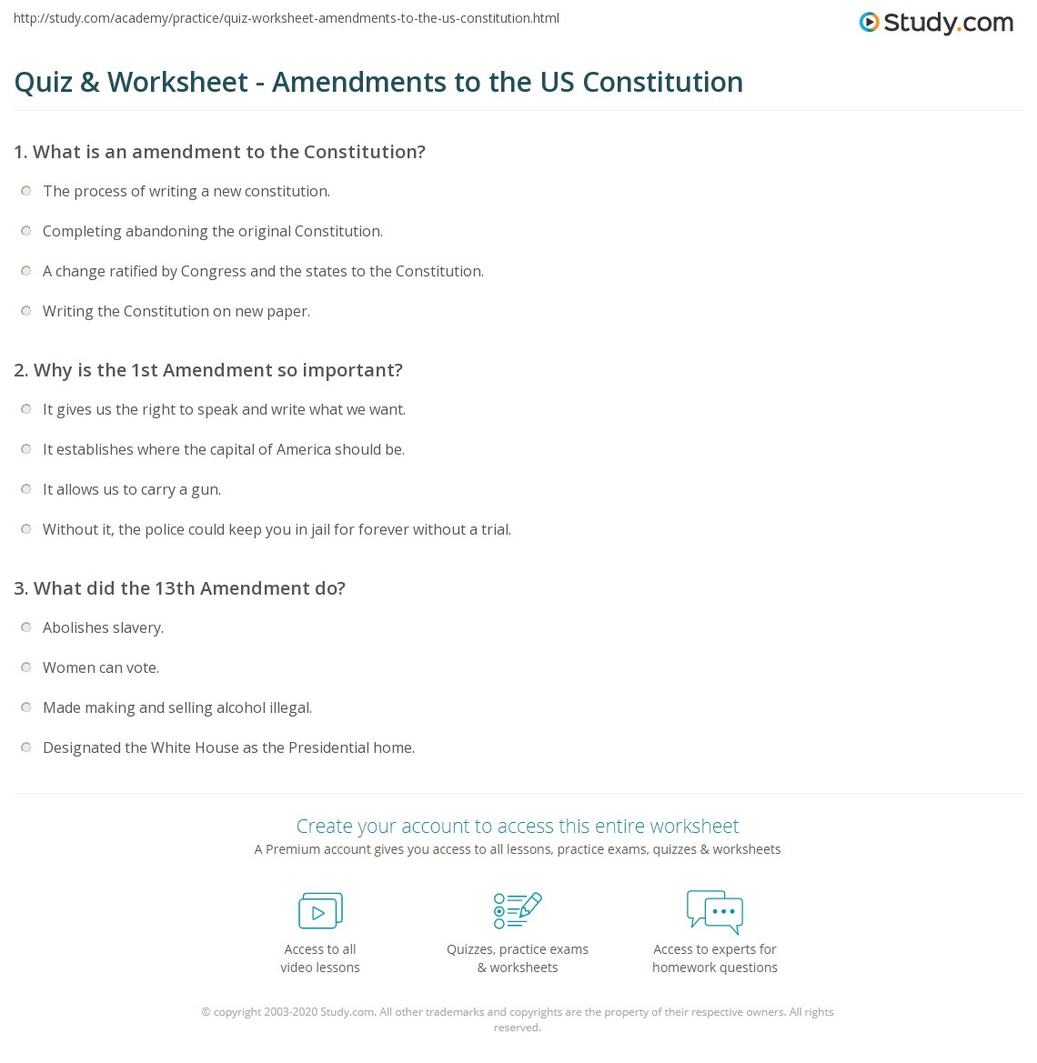 Quiz Worksheet Amendments to the US Constitution – Constitution Day Worksheets