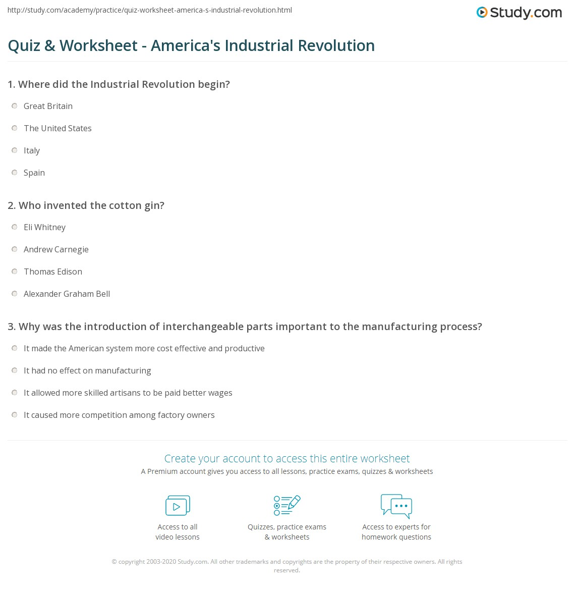 Quiz & Worksheet - America's Industrial Revolution | Study.com