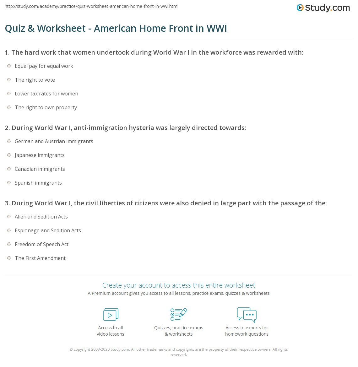 Worksheets Home 2015: Quiz & Worksheet   American Home Front in WWI   Study com,