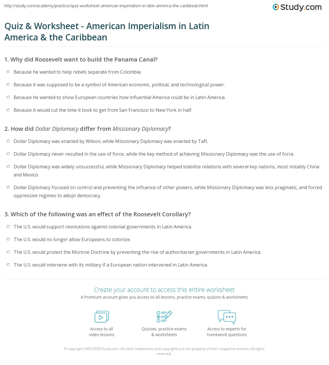 american imperialism worksheet  quiz worksheet american imperialism in latin america the