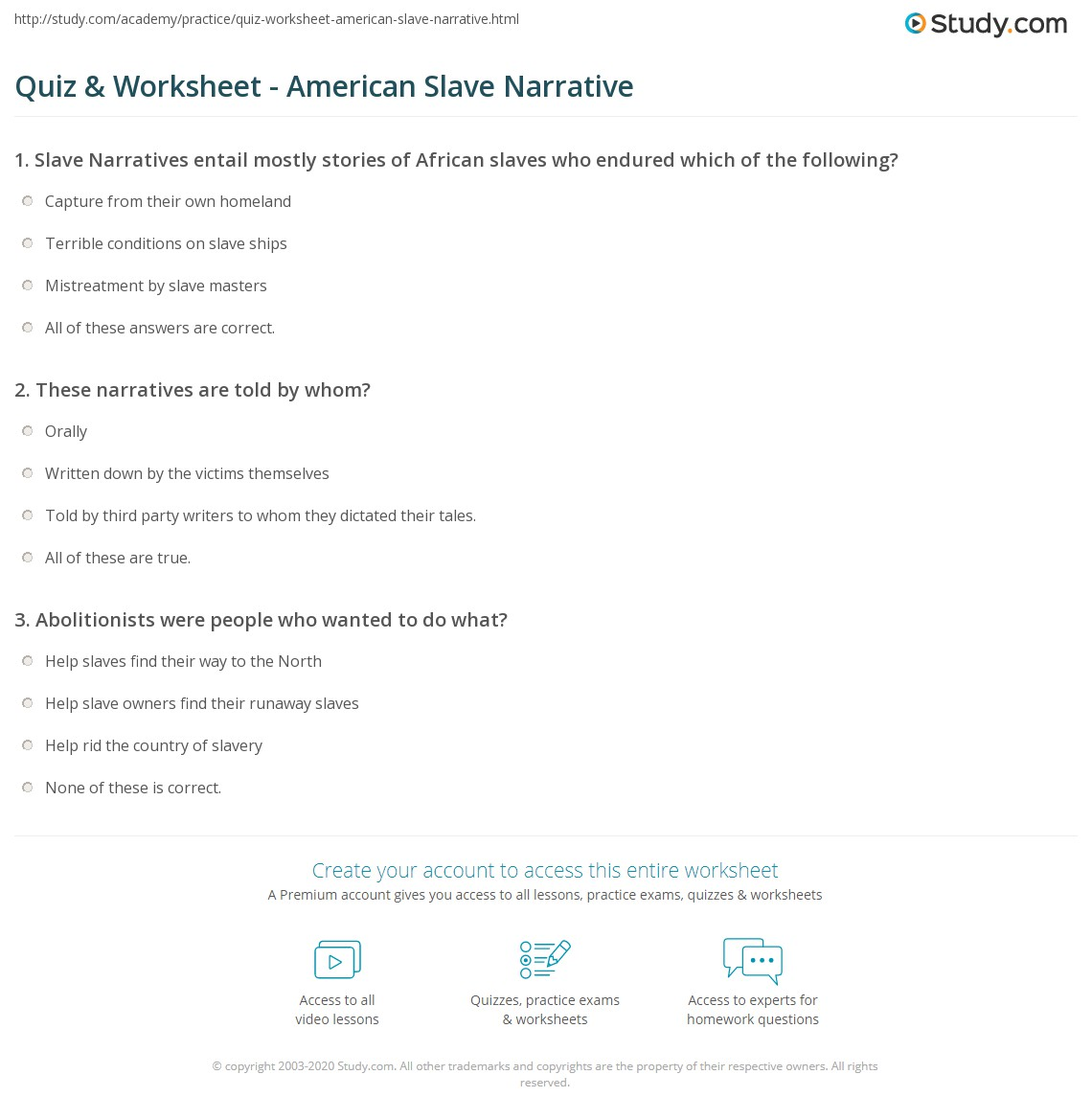 quiz worksheet american slave narrative com print american slave narrative definition overview worksheet