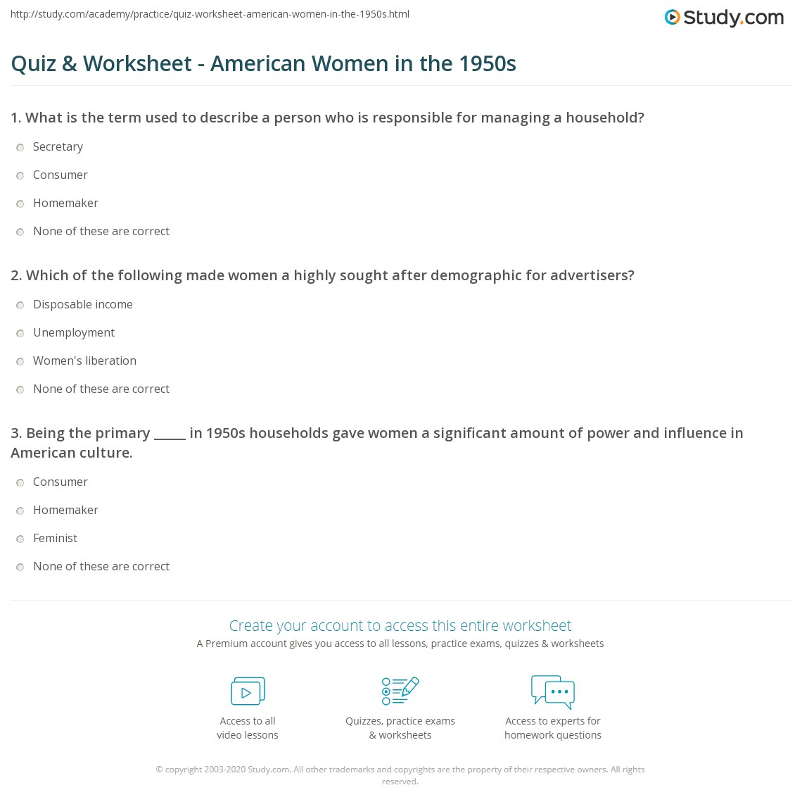 quiz worksheet american women in the s com print women in the 1950s in america worksheet
