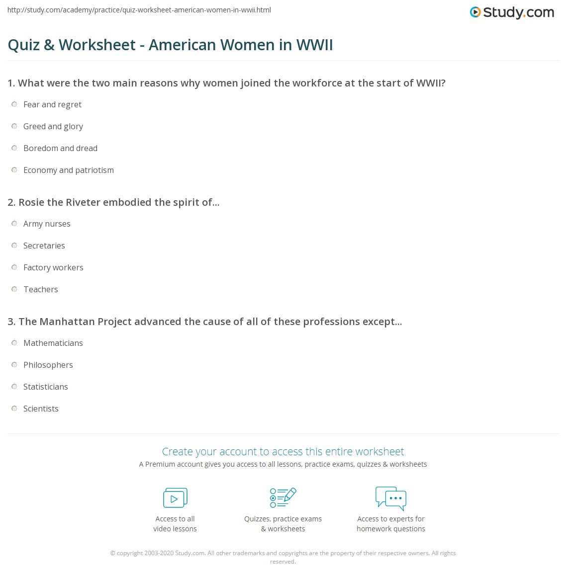 Quiz Worksheet American Women in WWII – Ww2 Worksheets