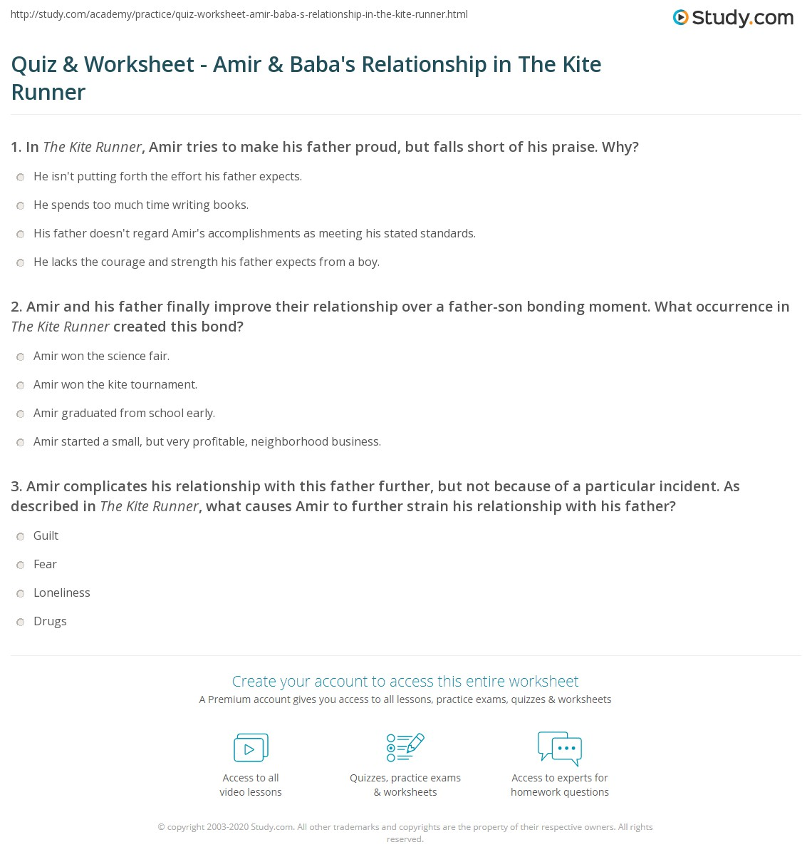quiz worksheet amir baba s relationship in the kite runner print relationship between amir baba in the kite runner worksheet