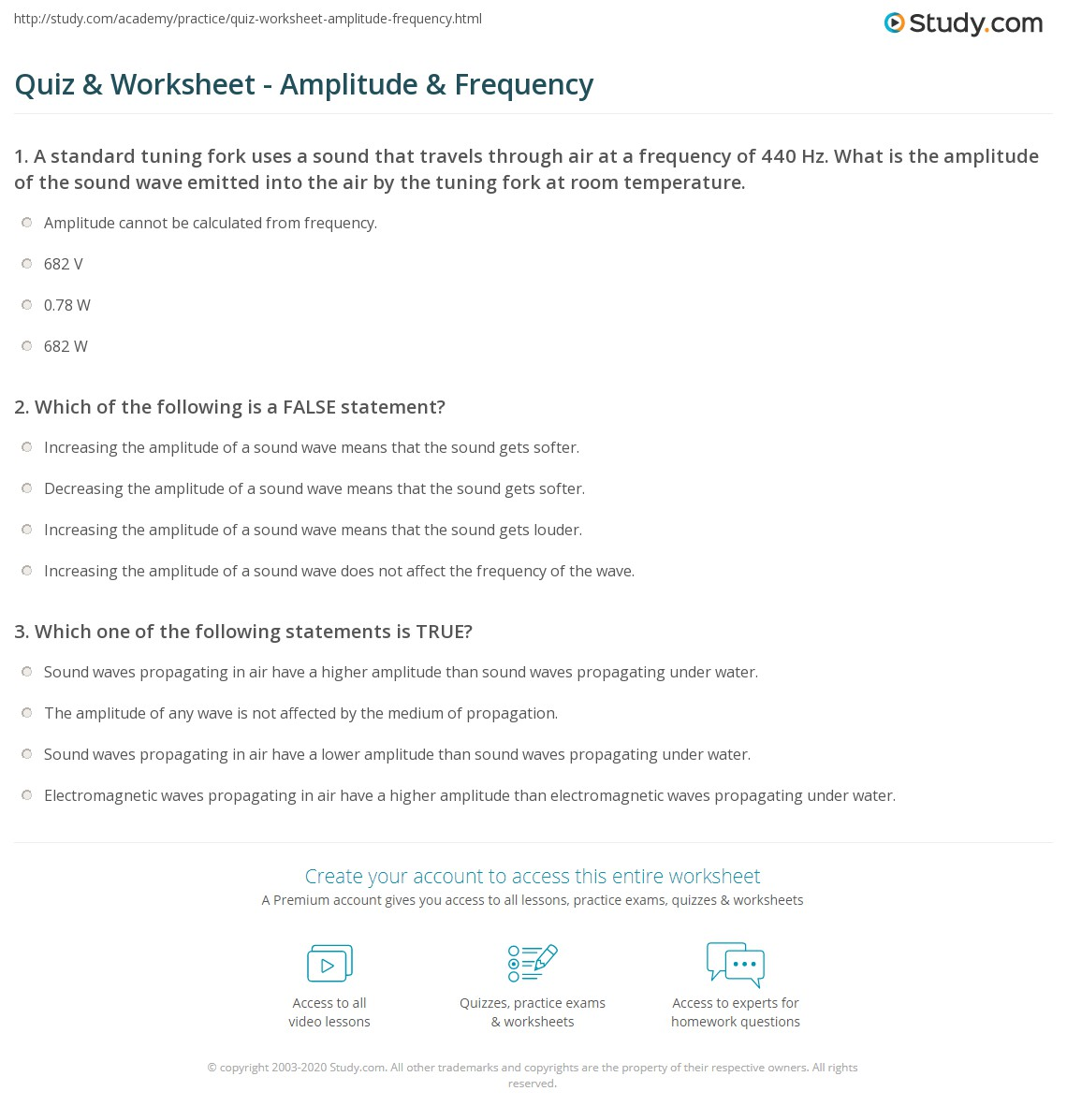 worksheet Sound Waves Worksheet quiz worksheet amplitude frequency study com print what is definition worksheet