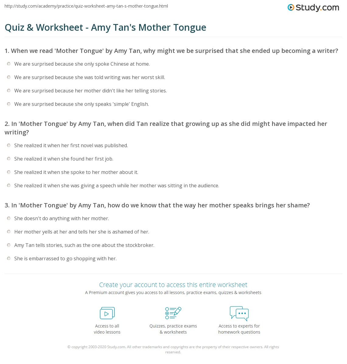 quiz worksheet amy tan s mother tongue com print amy tan s mother tongue summary themes worksheet