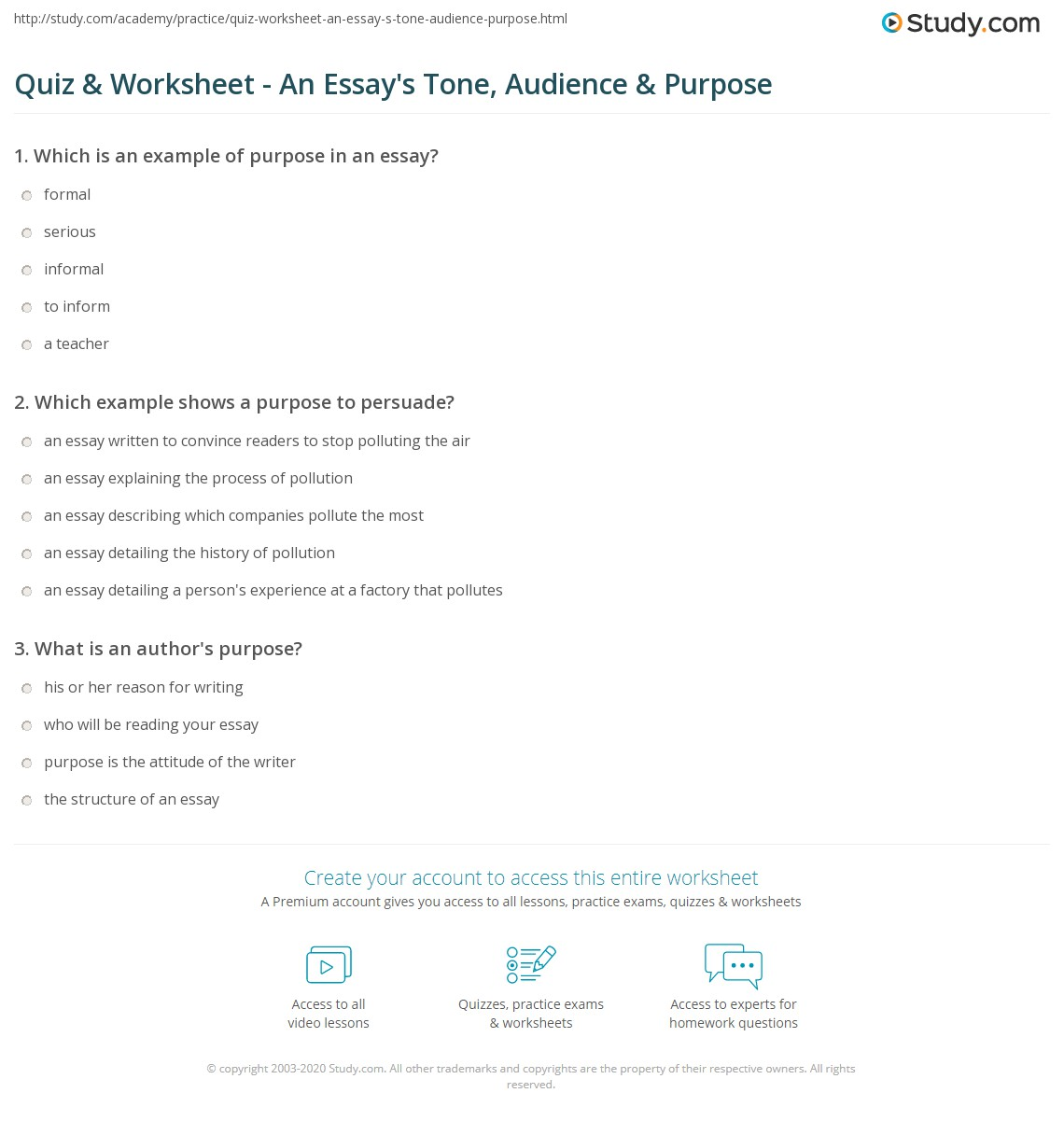 an essay quiz worksheet an essay s tone audience purpose com how  quiz worksheet an essay s tone audience purpose com print tone audience purpose in essays worksheet