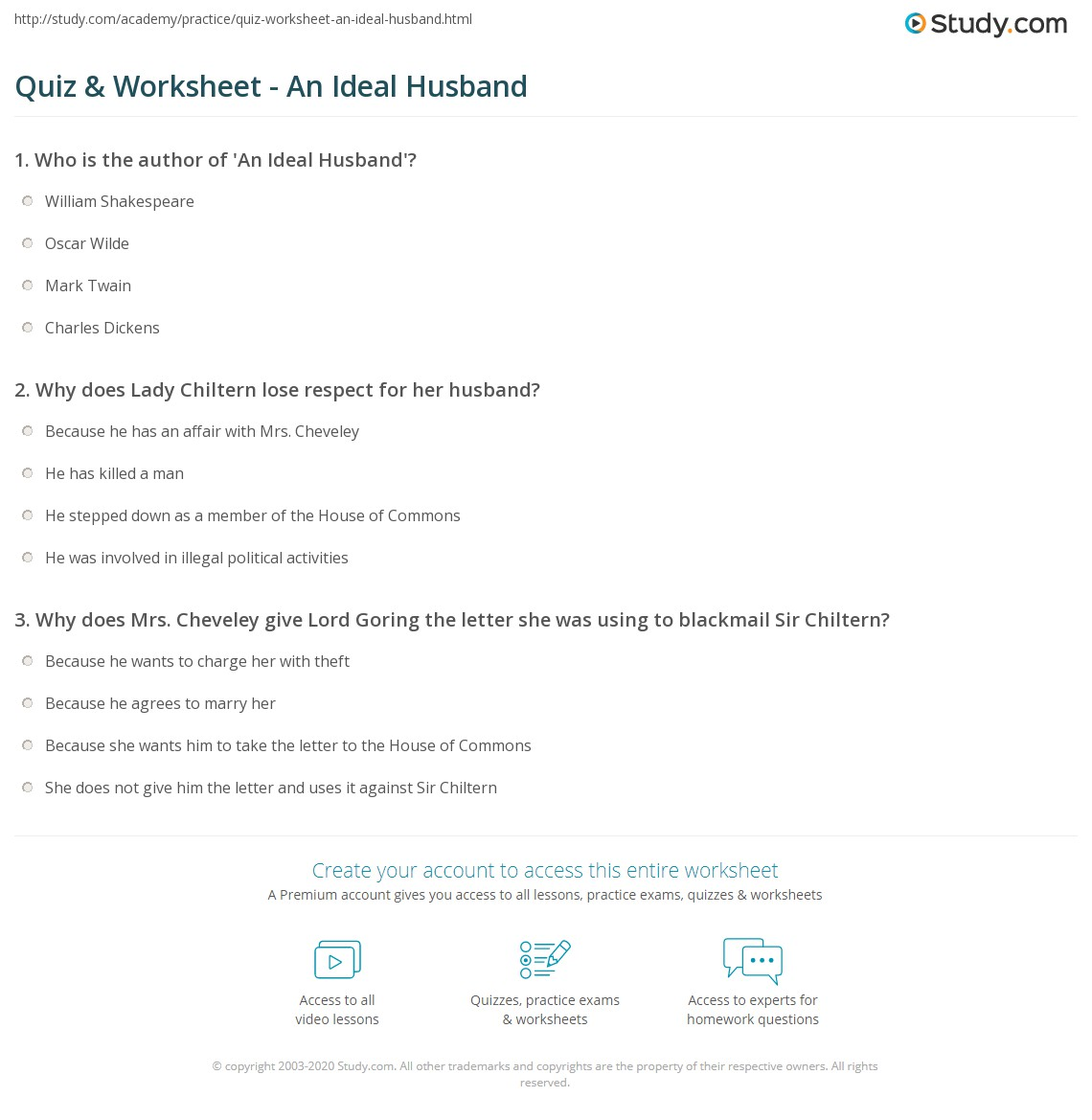 quiz worksheet an ideal husband com print an ideal husband by oscar wilde summary overview worksheet