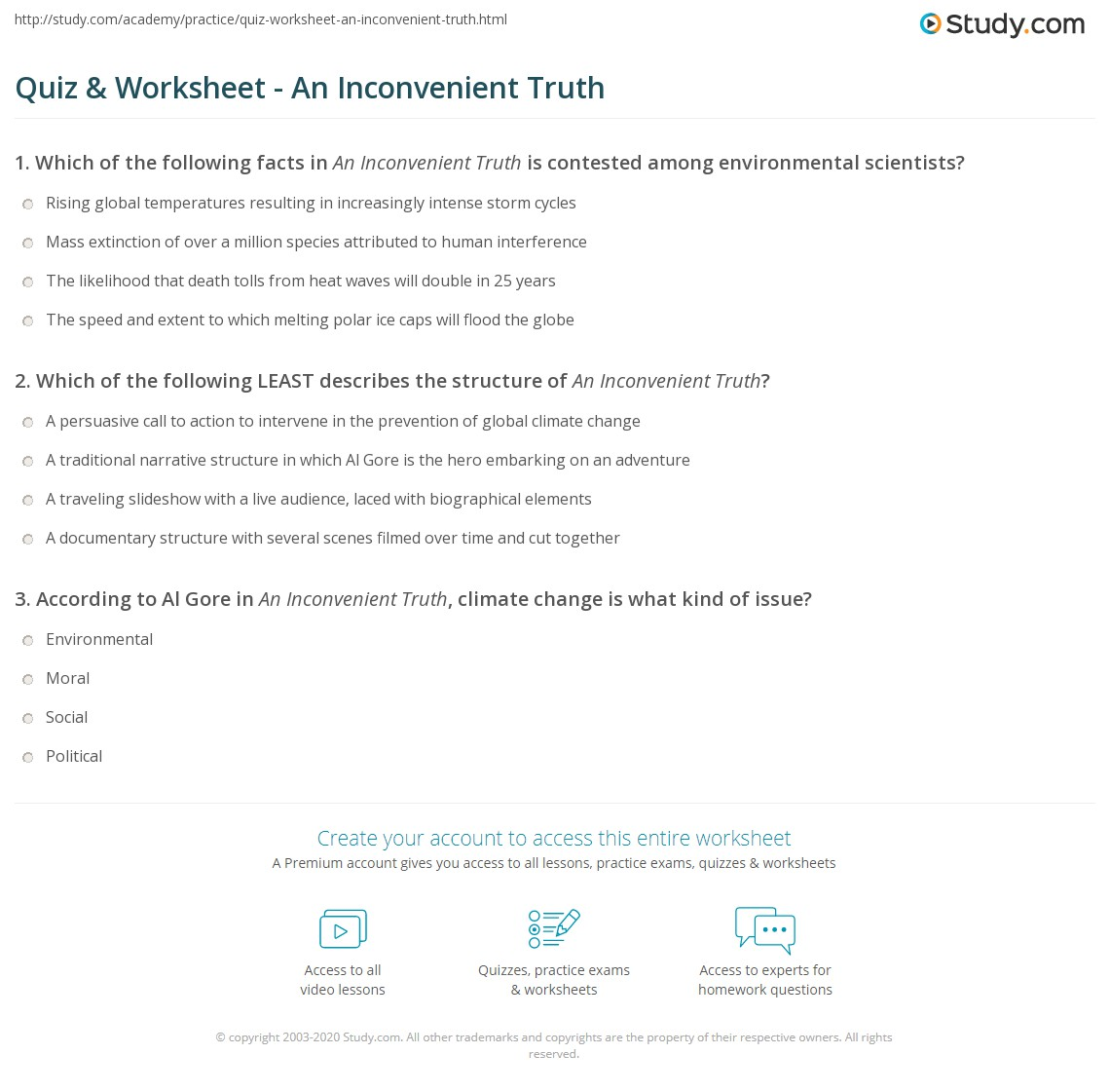 Worksheets Inconvenient Truth Worksheet quiz worksheet an inconvenient truth study com print summary facts quotes worksheet