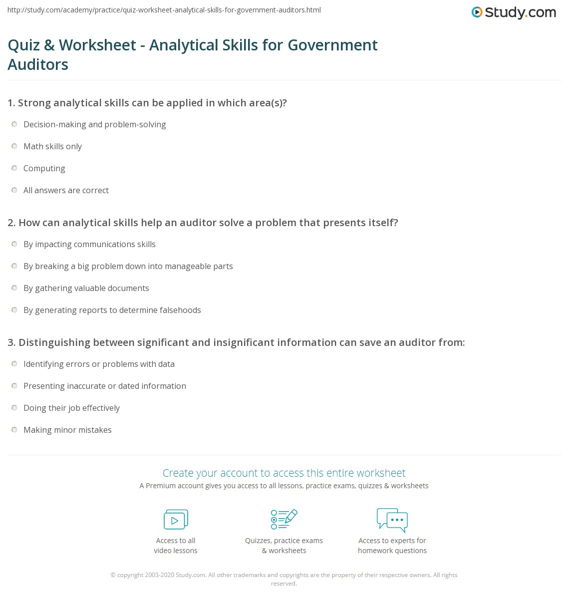 quiz worksheet analytical skills for government auditors print government auditor analytical skills need examples worksheet