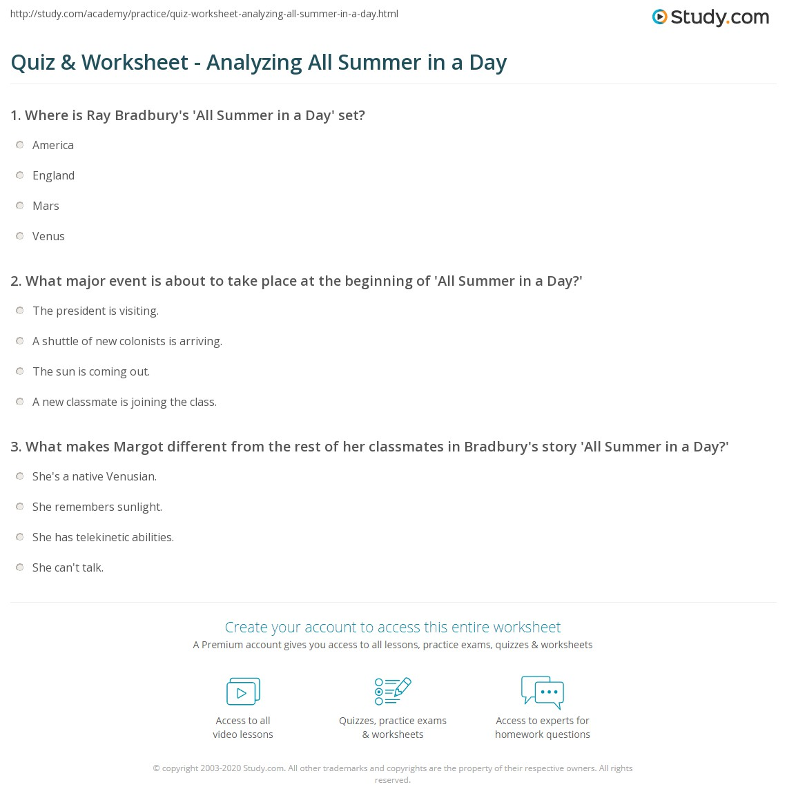 all summer in a day ray bradbury essay essay quiz worksheet yzing all summer in a day study com