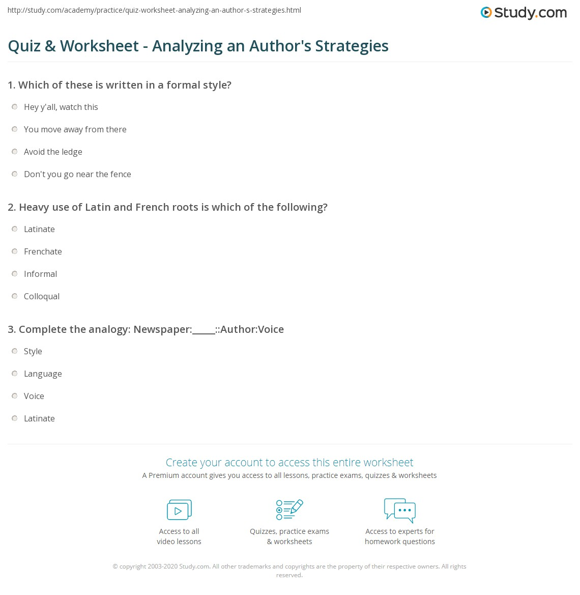Quiz Worksheet Analyzing An Author 39 S Strategies
