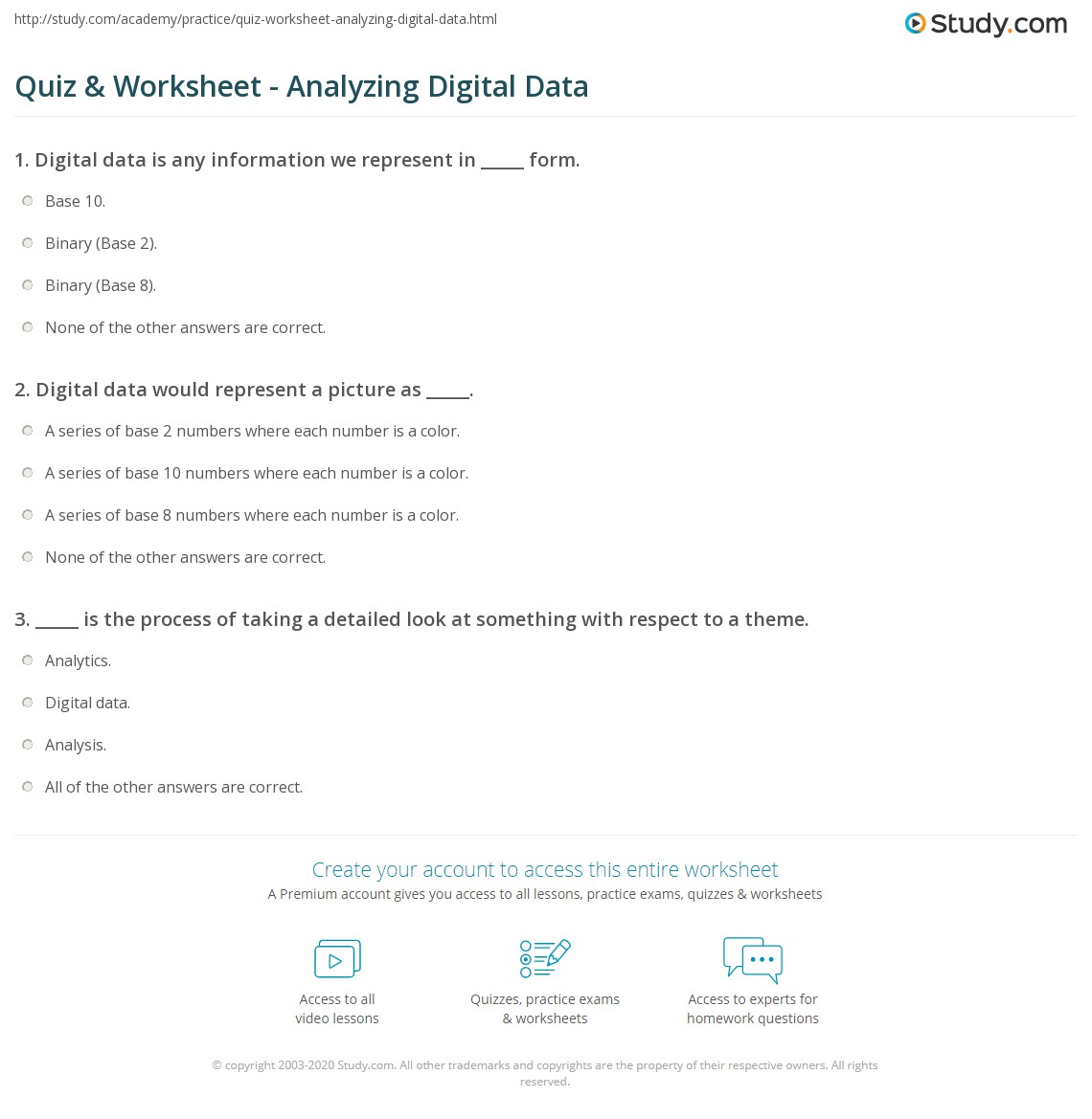Printables Analyzing Data Worksheet analyzing data worksheet imperialdesignstudio quiz amp digital study com