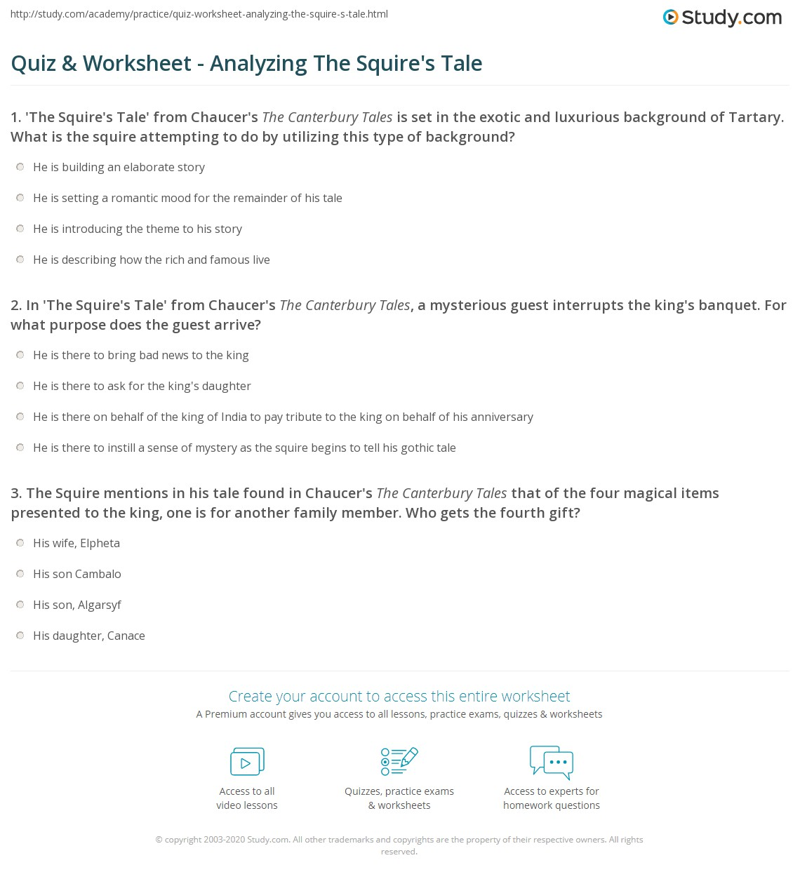 quiz worksheet analyzing the squire s tale com print the squire s tale in the canterbury tales theme analysis worksheet
