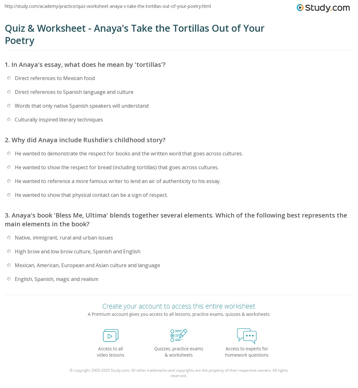 quiz worksheet anaya s take the tortillas out of your poetry print rudolfo anaya s take the tortillas out of your poetry worksheet