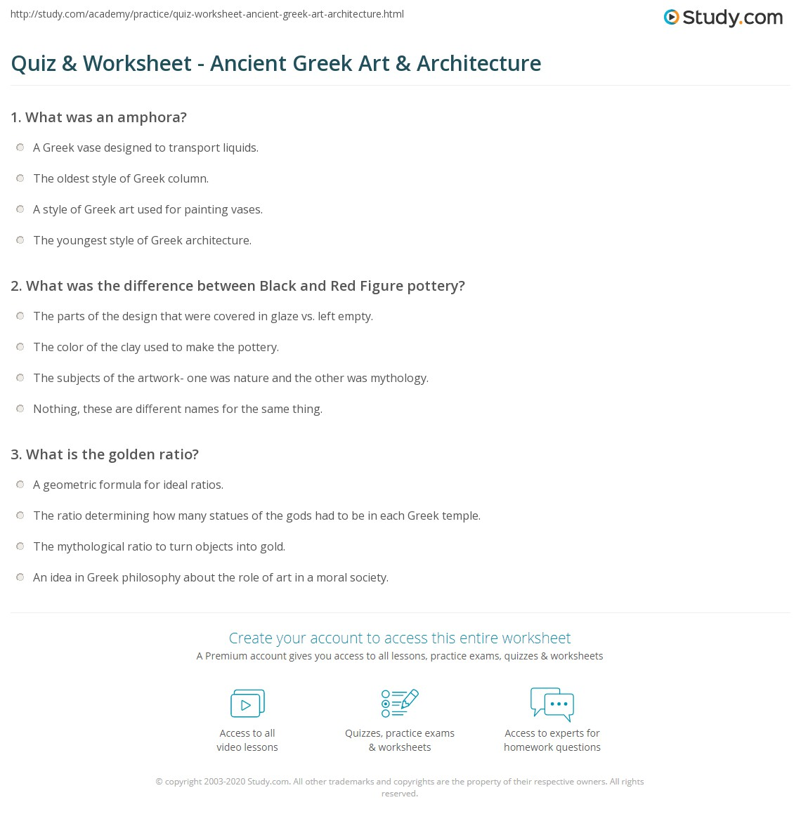 Quiz Worksheet Ancient Greek Art Architecture – Ancient Greece Worksheets