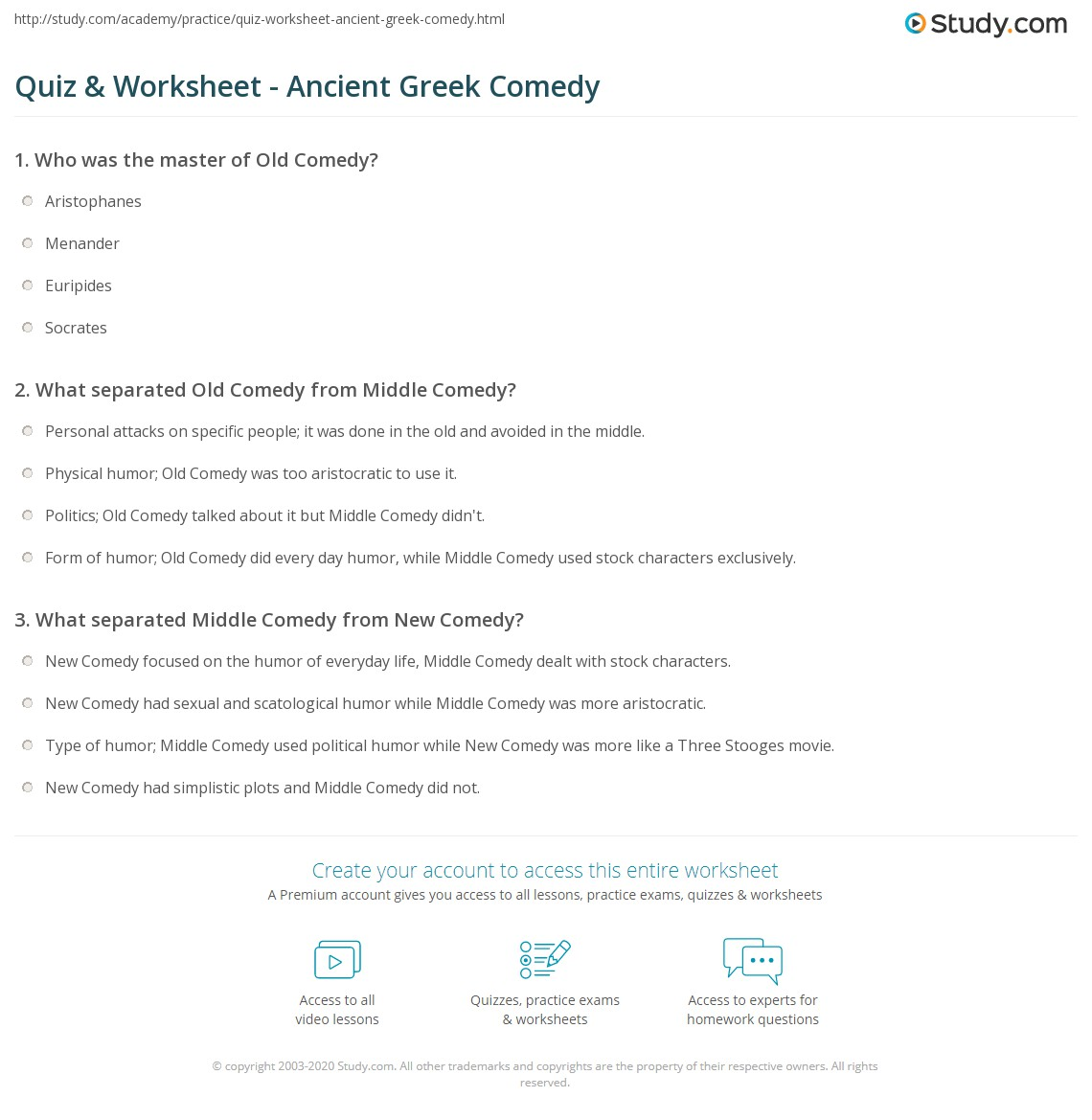 Quiz Worksheet Ancient Greek Comedy – Ancient Greece Worksheets