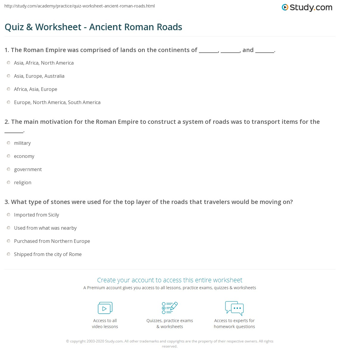 Quiz Worksheet Ancient Roman Roads – Roman Empire Worksheets